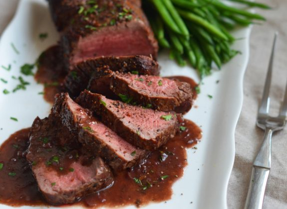 Roast Beef Tenderloin with Wine Sauce