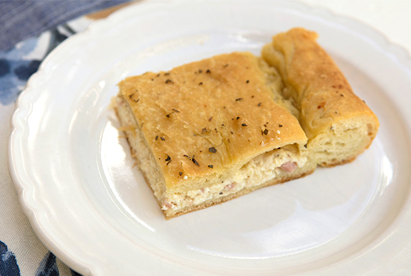 Cheese And Ham Stuffed Focaccia