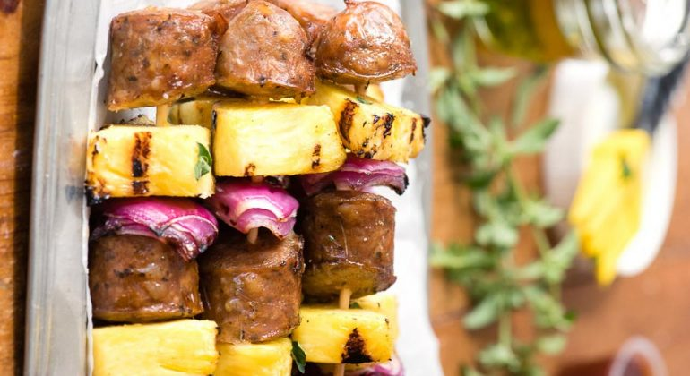 Grilled Cheesy Sausage Pineapple Skewers