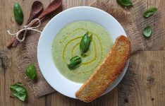 Courgette and Basil Soup with Focaccia Toast
