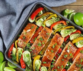 Honey-Lime Roasted Sheet Pan Salmon and Vegetables