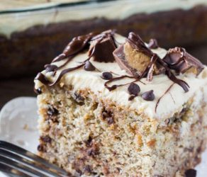 Chocolate Chip Banana Cake with Peanut Butter Frosting