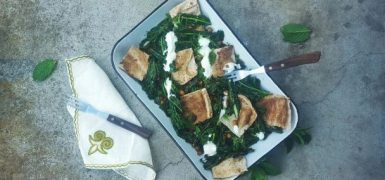 Spiced Chickpea and Kale Salad with Crispy Flatbread
