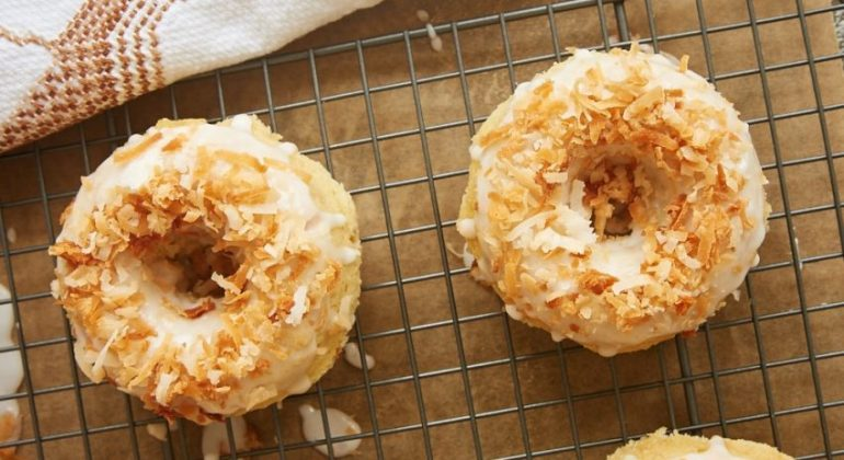 Toasted Coconut Cake Doughnuts