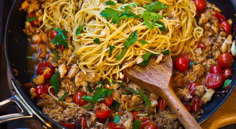 Tomato Crab Spaghetti