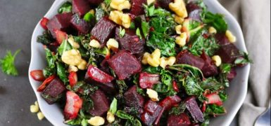 Warm Ginger Beet Kale Salad with Walnuts