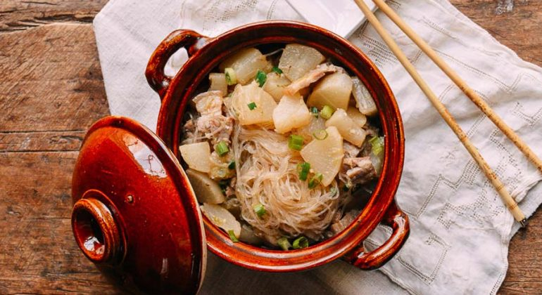 Braised Daikon with Salted Pork and Glass Noodles