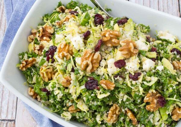 Kale Quinoa Salad with Walnuts, Cranberries, and Feta