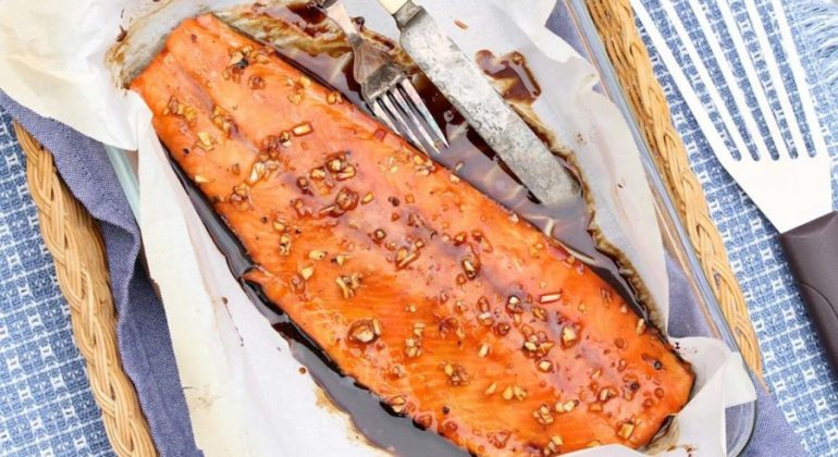 Baked Tamari Maple Salmon