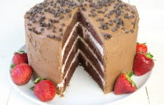 Chocolate Cake with Strawberry Mousse Filling