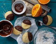 Chocolate Dipped Orange Cookie Crinkles