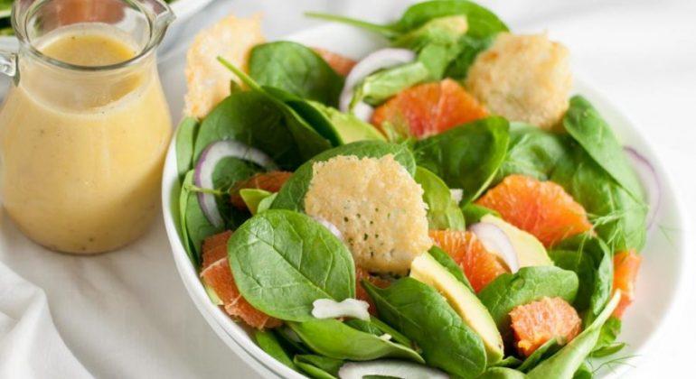 Orange and Avocado Salad with Parmesan Crisps