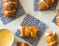 Pretzel Dogs with a Whole Grain Mustard Cheese Sauce