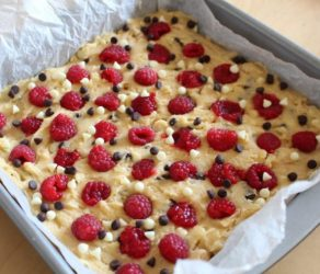 Raspberry Hazelnut Chocolate Chip Blondies