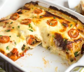Refried Bean Enchiladas with Jalapeno Cheese Sauce