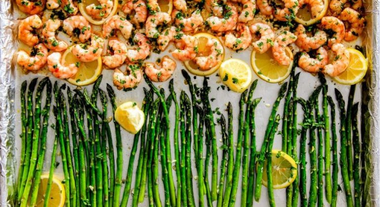 Roasted Lemon Butter Garlic Shrimp and Asparagus