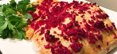 Roasted Salmon with Dijon Mustard and Beet Horseradish