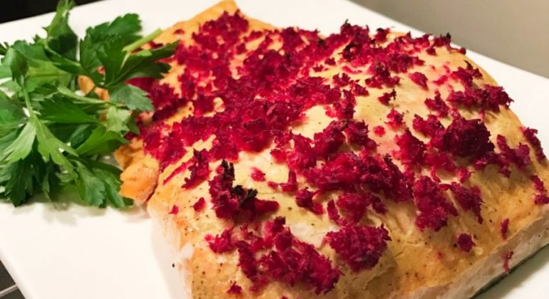 Roasted Salmon with Dijon Mustard and Beet Horseradish
