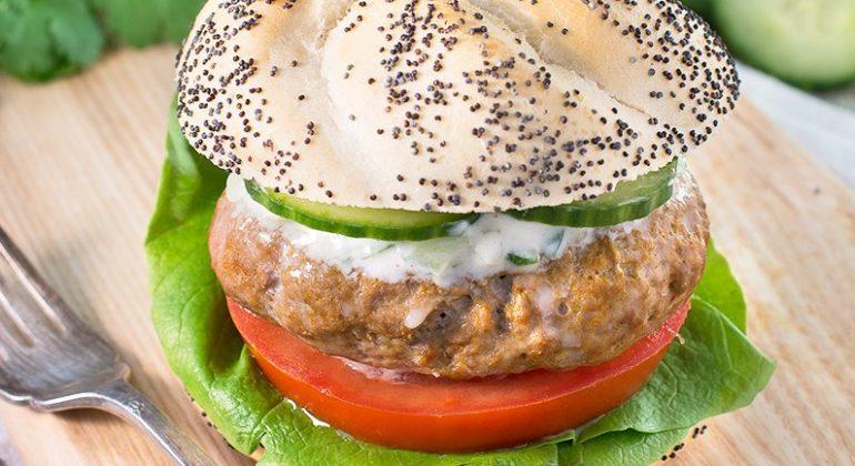 Spiced Lamb Burgers with Cucumber & Mint Raita