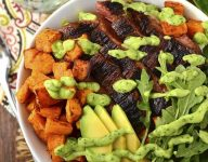 Steak and Sweet Potato Bowls with Avocado-Cilantro Drizzle