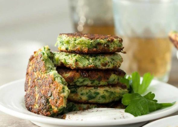 Broccoli Goat Cheese Fritters with Sumac Yogurt