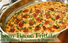 Cheesy Bacon Frittata with Roasted Tomatoes and Peppers