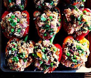 Ham Quinoa-Stuffed Peppers with Peas