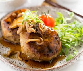 Japanese Hamburg Steak with Mushroom Sauce