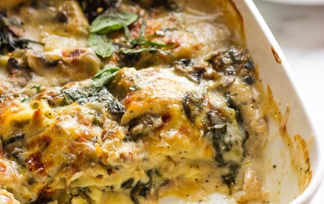 Chicken Mushroom and Spinach Lasagna