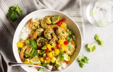 Cilantro Basil Shrimp with Mango Salsa