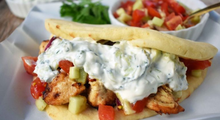 Greek Chicken Gyros with Tzatziki Sauce