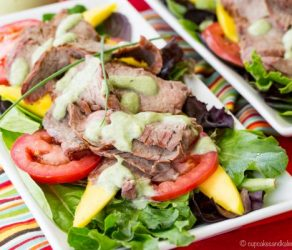 Grilled Steak Mango Salad with Avocado Buttermilk Ranch Dressing