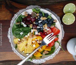Rainbow Fruit & Spinach Salad