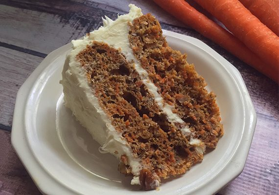 Sugar-Free Carrot Cake with Honey Cream Cheese Icing