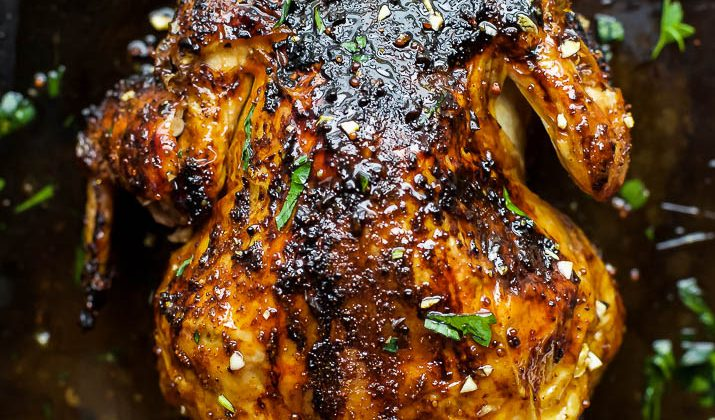 Glazed Honey Garlic Beer Can Chicken