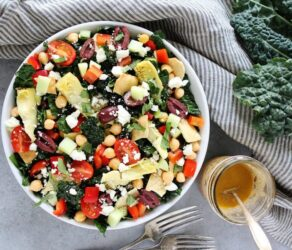 Mediterranean Kale Salad with Hummus Dressing