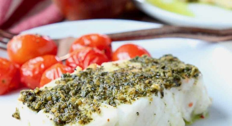 Baked Chilean Sea Bass with Pesto