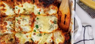 Pesto Mushroom Bolognese Lasagna