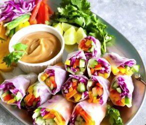 Rainbow Veggie Spring Rolls with Peanut Sauce